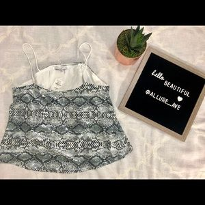 Snake-Print Cropped Camisole